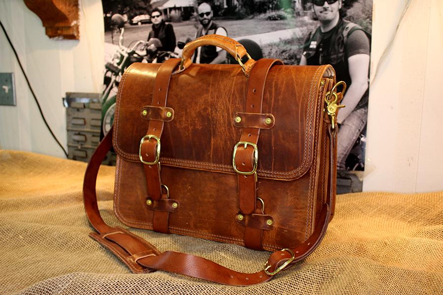 large briefcase - dublin natural brown thread brass hardware